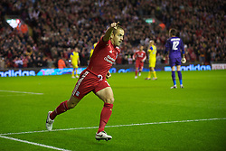 LIVERPOOL, ENGLAND - Thursday, September 16, 2010: Liverpool's Joe Cole celebrates scoring his side's first goal against FC Steaua Bucuresti, his first for the reds; during the opening UEFA Europa League Group K match at Anfield. (Photo by David Rawcliffe/Propaganda)
