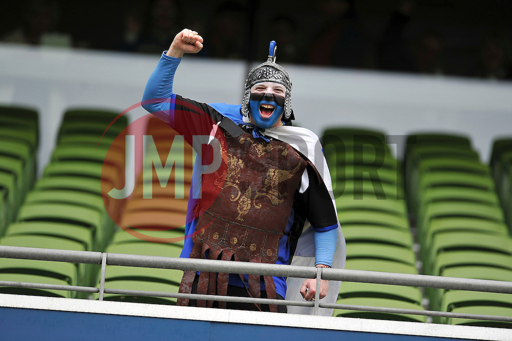 A Bath Rugby supporter shows his support prior to the match - Photo mandatory by-line: Patrick Khachfe/JMP - Mobile: 07966 386802 04/04/2015 - SPORT - RUGBY UNION - Dublin - Aviva Stadium - Leinster Rugby v Bath Rugby - European Rugby Champions Cup