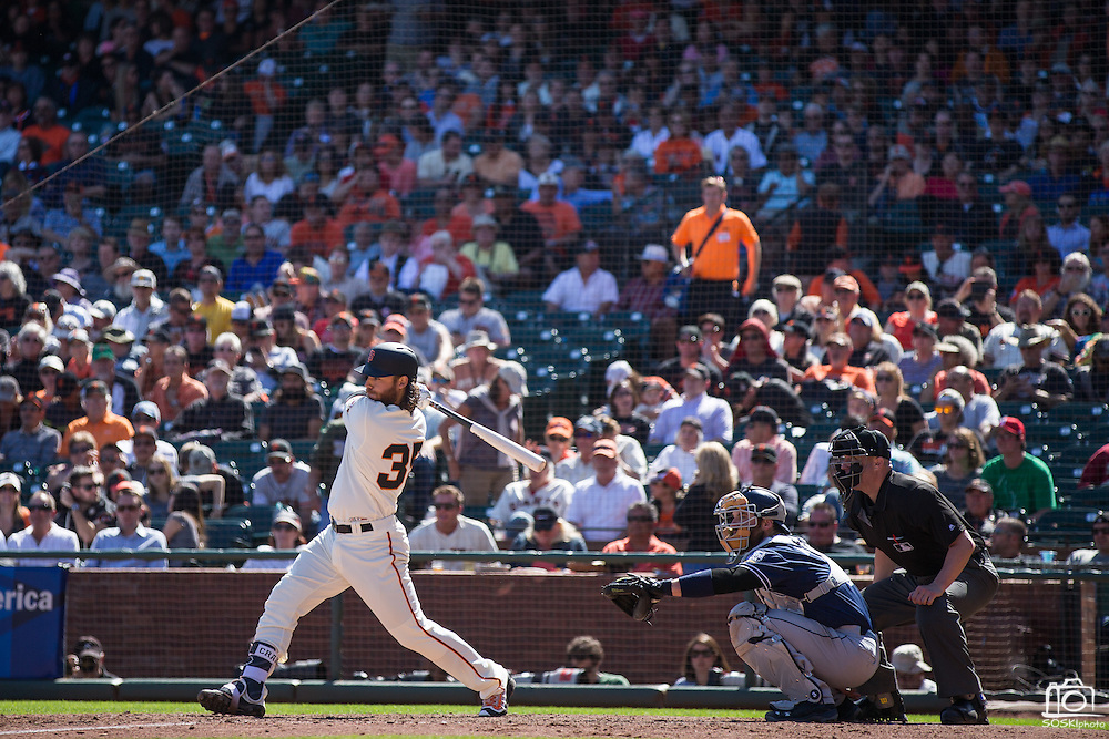 San Francisco Giants shortstop Brandon Crawford (35) swings at a pitch against the San Diego Padres at AT&T Park in San Francisco, Calif., on September 14, 2016. (Stan Olszewski/Special to S.F. Examiner)