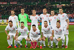 March 21, 2019 - Vienna, Austria - Line-up of Polish team before the UEFA European Qualifiers 2020 match between Austria and Poland at Ernst Happel Stadium in Vienna, Austria on March 21, 2019. (Credit Image: © Foto Olimpik/NurPhoto via ZUMA Press)