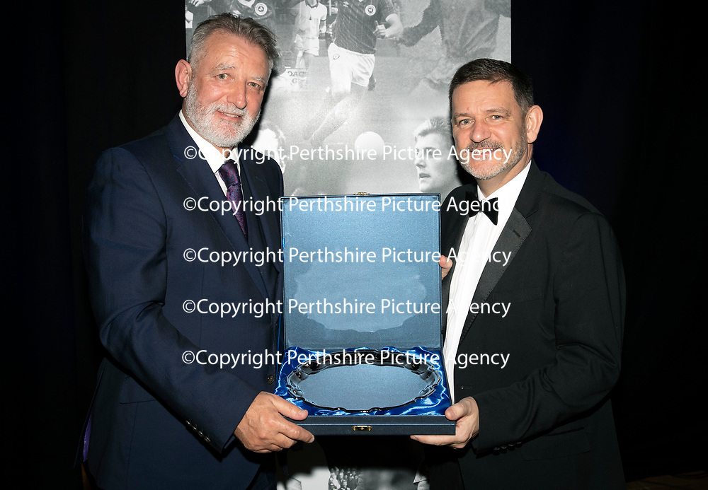 St Johnstone FC Hall of Fame Dinner, Perth Concert Hall….23.03.19<br />Chairman Steve Brown pictured with Jim Morton who was inducted into the St Johnstone Hall of Fame<br />Copyright Perthshire Picture Agency<br />Tel: 01738 623350  Mobile: 07990 594431
