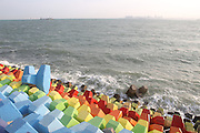 QINGDAO, CHINA - SEPTEMBER 18:<br /> <br />  Protection embankment in a sea-filling project is colored like a rainbow hanging on the coastline on September 18, 2016 in Qingdao, Shandong Province of China. Many visitors fixed their bronze locks on the colorful protection embankment to deliver their wishes. <br /> ©Exclusivepix Media