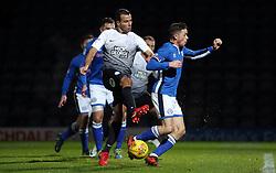 Steven Taylor of Peterborough United has an effort on goal blocked by Ian Henderson of Rochdale - Mandatory by-line: Joe Dent/JMP - 25/11/2017 - FOOTBALL - Crown Oil Arena - Rochdale, England - Rochdale v Peterborough United - Sky Bet League One