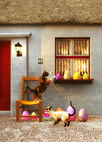 Easter is going on, and the two cats in this scene are certainly curious about some of the festivities that are going on. This beautiful scene depicts several brightly decorated Easter eggs resting along the windowsill and ground, just outside of what appears to be a home in the country. The cats are absolutely captivated by these eggs. One of the cats is even reaching out to gently bat one of the eggs with its paw. This is a wonderful moment that brings to mind those small, unforgettable memories that make for the Easters we remember fondly always. .<br />