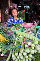 Woman selling fresh vegetables, Bangkok, Thailand