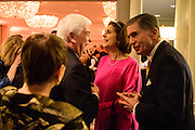 "Photo by Matt Roth.Assignment ID: 10137379A..Adrienne Arsht, back of head, Chris Dodd, Lynda Bird Johnson Robb and former senator Chuck Robb talk during the Buffy and Bill Cafritz, Ann and Vernon Jordan, Vicki and Roger Sant inaugural ""Bi-Partisan Celebration"" at the Dolley Madison Ballroom at the Madison Hotel in Washington, D.C. on Monday, January 21, 2013."