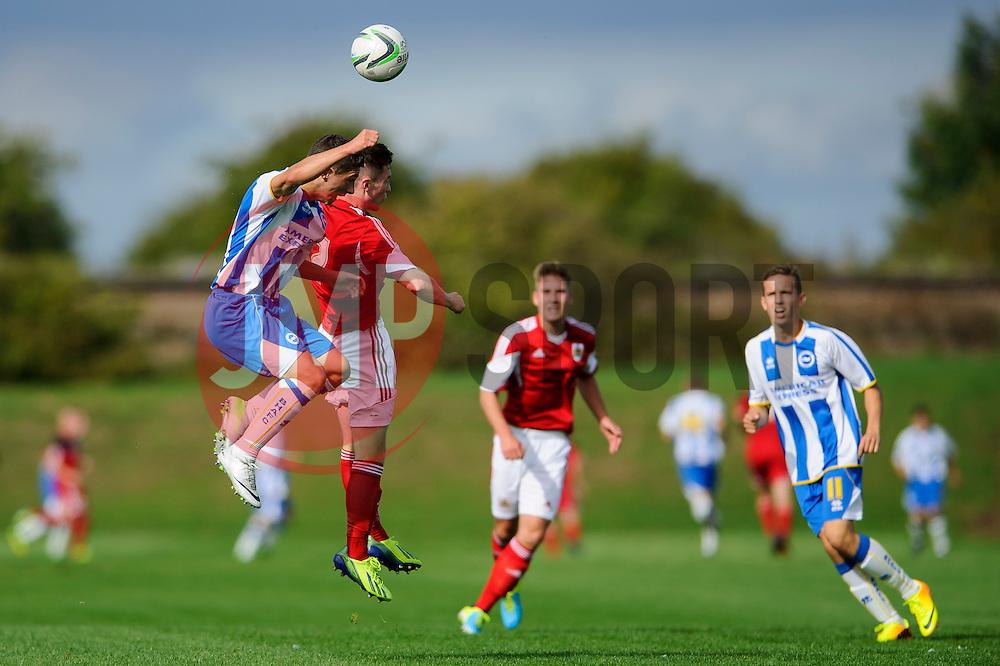 Jamie Horgan of Bristol City U18 heads the ball - Photo mandatory by-line: Rogan Thomson/JMP - Tel: 07966 386802 - 05/10/2013 - SPORT - FOOTBALL - SGS Wise Campus, Bristol - Bristol City U18 v Brighton & Hove Albion U18 - U18 Professional Development League 2.