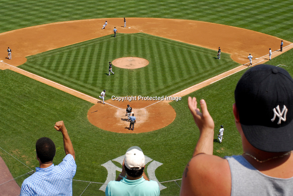 Fans cheer the action at Yankee Stadium.