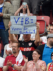 Football: Germany, 1. Bundesliga, VFB STUTTGART - HAMBURGER SV (HSV), Stuttgart - 16.05.2015,<br /> Stuttgarter Fan mit seinem Plakat: &quot;VfB ist Verein fuer Bundesliga 1 &quot; &quot;VfB is a team for Bundesliga 1&quot;<br /> <br /> &copy; pixathlon<br /> <br /> +++ NED out !!! +++
