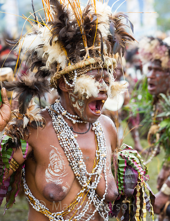 Woman dancing at the Goroka festival in Papua New Guinea