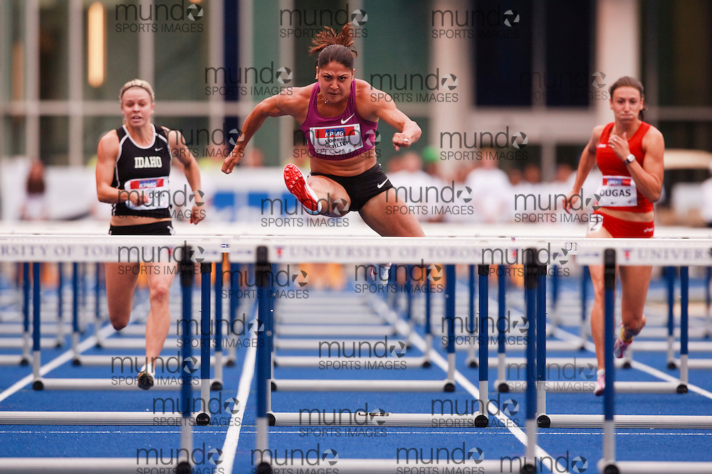 Toronto, Ontario ---10-07-31--- Priscilla Lopes-Schleip competes in the 100 metre hurdles at the 2010 Canadian Track and Field Championships in Toronto, Ontario July 31, 2010.. GEOFF ROBINS/Mundo Sport Images.