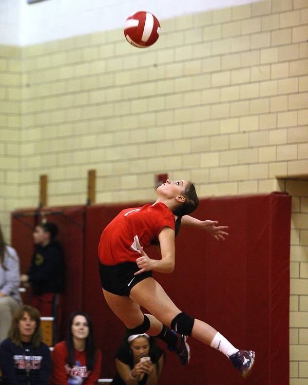 Southwestern's Misty Himes serves during game two against Roy-Hart 11-4-15 photo by Mark L. Anderson