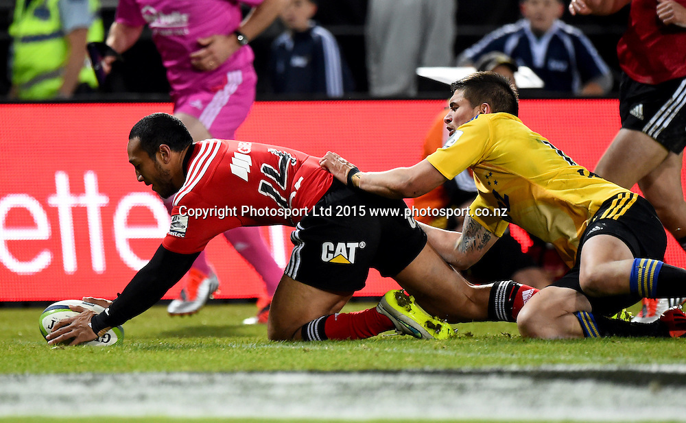 Crusaders player Nafi Tuitavake score a try during their Investec Super Rugby game Crusaders v Hurricanes. Trafalgar Park, Nelson, New Zealand. Friday 29 May 2015. Copyright Photo: Chris Symes / www.photosport.co.nz