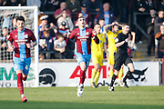 Goal celebration by  Scunthorpe United forward Lee Novak (17)  during the EFL Sky Bet League 1 match between Scunthorpe United and AFC Wimbledon at Glanford Park, Scunthorpe, England on 30 March 2019.