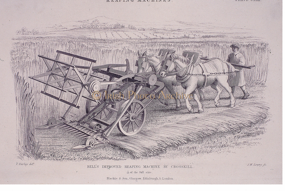 Bell's improved reaping machine by Crosskill, c1840. A farmer operates the machine by guiding two horses behind which push the harvester forward. Designed by the Scottish clergyman Patrick Bell (1799-1869) this was one of the first practical reaping machines to incorporate features that are still seen on modern combine harvesters.  Engraving.