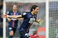 Joie Edinson Cavani - 30.05.2015 - Auxerre / Paris Saint Germain - Finale Coupe de France<br />Photo : Andre Ferreira / Icon Sport
