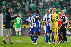 29.10.2011,Volkswagen Arena, Wolfsburg, GER, 1.FBL, VFL Wolfsburg vs Hertha BSC Berlin, im Bild freude bei der berliner mannschaft .// during the match from GER, 1.FBL,VFL Wolfsburg vs Hertha BSC Berlin  on 2011/10/29, Volkswagen Arena, Wolfsburg, Germany..EXPA Pictures © 2011, PhotoCredit: EXPA/ nph/  Schrader       ****** out of GER / CRO  / BEL ******