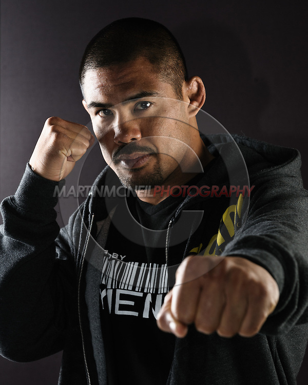 "BIRMINGHAM, ENGLAND, NOVEMBER 3, 2011: Mark Munoz poses for a portrait after the press conference for ""UFC 138: Munoz vs. Leben"" inside the Hilton Hotel in Birmingham, England on November 3, 2011."