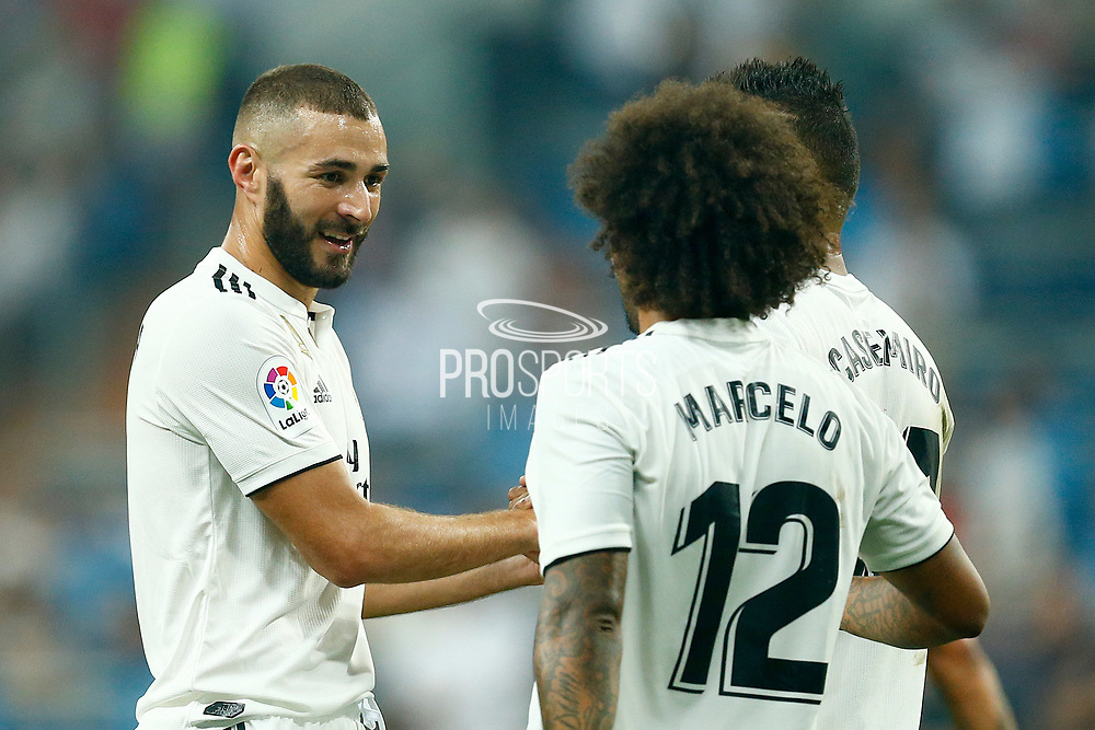 Real Madrid's French forward Karim Benzema celebrates after scoring with Real Madrid's Brazilian defender Marcelo during the Spanish championship Liga football match between Real Madrid CF and Leganes on September 1, 2018 at Santiago Bernabeu stadium in Madrid, Spain - Photo Benjamin Cremel / ProSportsImages / DPPI