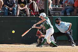 09 May 2014:  Amanda Fazzari bats, Maddie Dieleman catches during an NCAA Division III women's softball championship series game between the Lake Forest Foresters and the Illinois Wesleyan Titans in Bloomington IL