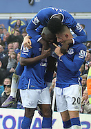 Arouna Kone of Everton celebrates with Romelu Lukaku and Ross Barkley after scoring the fifth goal against Sunderland during the Barclays Premier League match at Goodison Park, Liverpool.<br /> Picture by Michael Sedgwick/Focus Images Ltd +44 7900 363072<br /> 01/11/2015