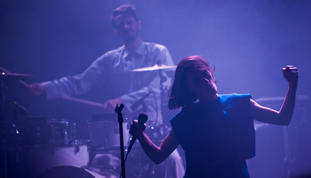 Tanguy Destable (aka Tepr) and Julie Budet of French dance-pop group Yelle performing at Observatory Orange County in between Coachella performances with Seattle-based Hibou opening.
