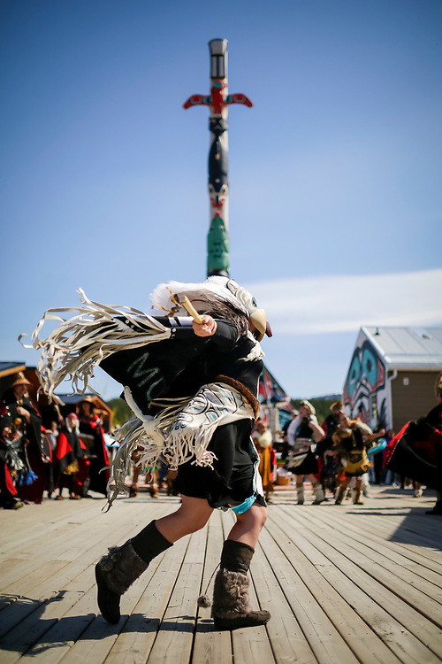 A dancer performs at the Dakhka Khwaan tenth anniversary celebration in Carcross, Yukon.