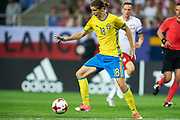 Lublin, Poland - 2017 June 19: Pawel Cibicki from Sweden U21 controls the ball while Poland v Sweden match during 2017 UEFA European Under-21 Championship at Lublin Arena on June 19, 2017 in Lublin, Poland.<br /> <br /> Mandatory credit:<br /> Photo by &copy; Adam Nurkiewicz / Mediasport<br /> <br /> Adam Nurkiewicz declares that he has no rights to the image of people at the photographs of his authorship.<br /> <br /> Picture also available in RAW (NEF) or TIFF format on special request.<br /> <br /> Any editorial, commercial or promotional use requires written permission from the author of image.