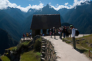 The House of the Guardians is the highest structure at Machu Picchu in Peru.