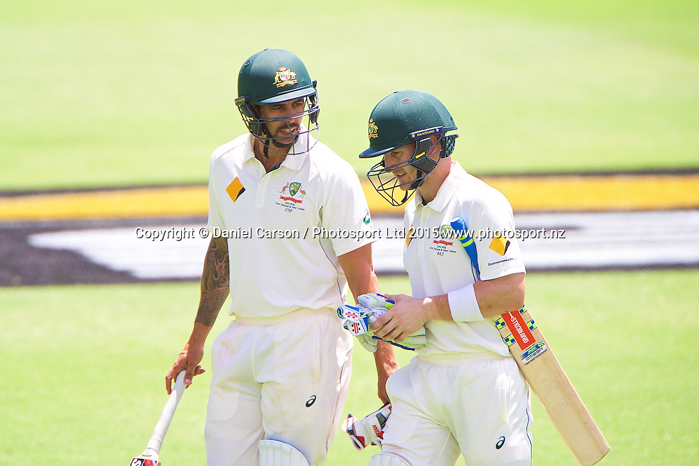 Mitchell Johnson of Australia and Peter Nevill of Australia leave the pitch after the first session during Day 5 on the 17th of November 2015. The New Zealand Black Caps tour of Australia, 2nd test at the WACA ground in Perth, 13 - 17th of November 2015.   Photo: Daniel Carson / www.photosport.nz