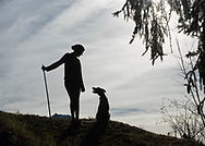 Young girl walking in the Alps mountains with her dog