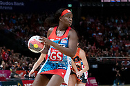 SYDNEY, NSW - JUNE 16: Sam Wallace of the Swifts looks to pass the ball during the round 8 Super Netball match between the Sydney Swifts and the Giants at Qudos Bank Arena on June 16, 2019 in Sydney, Australia.(Photo by Speed Media/Icon Sportswire)