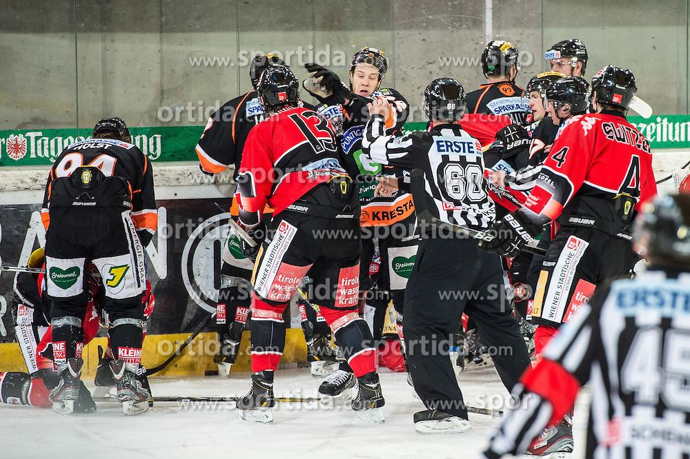 18.01.2013, Tiroler Wasserkraft Arena, Innsbruck, AUT, EBEL, HC TWK Innsbruck vs Graz 99ers, 43. Runde, im Bild Massenrauferei mit Taylor Holst, (Graz 99ers, #94), Antonin Manavian, (HC TWK Innsbruck, # 13), Kevin Moderer, (Graz 99ers, #72), Craig Switzer, (HC TWK Innsbruck, # 04) // during the Erste Bank Icehockey League first Round match betweeen HC TWK Innsbruck and Graz 99ers at the Tiroler Wasserkraft Arena, Innsbruck, Austria on 2013/01/18. EXPA Pictures © 2013, PhotoCredit: EXPA/ Eric Fahrner