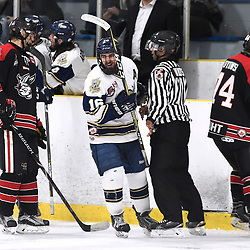 TORONTO, ON  - APR 10,  2018: Ontario Junior Hockey League, South West Conference Championship Series. Game seven of the best of seven series between Georgetown Raiders and the Toronto Patriots. Greame MacLean #16 of the Toronto Patriots celebrates the goal during the second period.<br /> (Photo by Andy Corneau / OJHL Images)