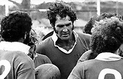 All Black captain Ian Kirkpatrick at half time during Poverty Bay (25) v King Country (12) at Otorohanga on 21 July 1973.<br /> Copyright photo: Ron Cooke / www.photosport.co.nz