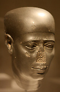 Head of a statue of an unknown man. , 27 dynasty, 500 BC greywacke