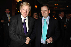 Left to right, Mayor of London BORIS JOHNSON and MATTHEW d'ANCONA at a party to celebrate the 180th Anniversary of The Spectator magazine, held at the Hyatt Regency London - The Churchill, 30 Portman Square, London on 7th May 2008.<br /><br />NON EXCLUSIVE - WORLD RIGHTS