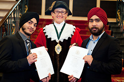 British Army Enlistments Oath of Allegiance held at the Mansion House Doncaster South Yorkshire. recruit Mandeep Singh and Prabjot Singh with Deputy Mayor of Doncaster, Councillor Patricia Schofield  .14 January 2010.Images © Paul David Drabble