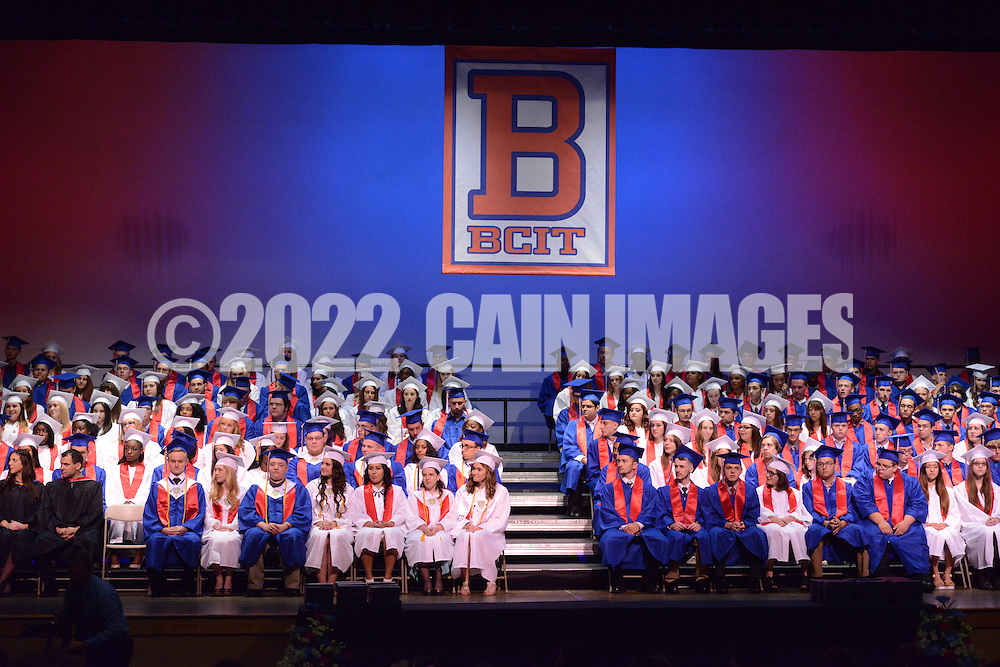 Graduates sit onstage during Burlington County Institute of Technology's commencement ceremony Thursday June 18, 2015 in Medford, New Jersey.  (Photo by William Thomas Cain)