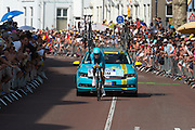 Lars Boom van de Astana ploeg. In Utrecht is deTour de France van start gegaan met een tijdrit. De stad was al vroeg vol met toeschouwers. Het is voor het eerst dat de Tour in Utrecht start.<br /> <br /> In Utrecht the Tour de France has started with a time trial. Early in the morning the city was crowded with spectators. It is the first time the Tour starts in Utrecht.