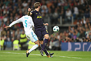 Harry Kane scores during the Champions League match between Real Madrid and Tottenham Hotspur at the Santiago Bernabeu Stadium, Madrid, Spain on 17 October 2017. Photo by Ahmad Morra.