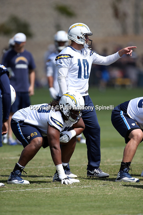 San Diego Chargers rookie guard Donavon Clark (63) gets set to block during the Chargers 2016 NFL minicamp football practice held on Tuesday, June 15, 2016 in San Diego. (©Paul Anthony Spinelli)