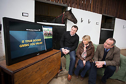 "Repro Free: 08/02/2013 .Pictured (from right) is Barry Orr, Public Relations Manager Betfair joined by RTE Racing presenter, Tracy Piggot and Cross Sport Media Manager, Dermot Rigley, to launch a two year deal which will see Betfair's ""In-Vision"" TV ads appear during all 46 days of Horse Racing coverage airing by the National broadcaster. Picture Andres Poveda"