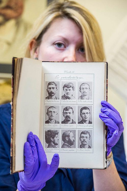 Bertillon mug shots - Forensics: the anatomy of crime – announcement of Wellcome Collection's major spring exhibition.  Never-displayed items from historic figures of forensic medicine including the work of: Sir Bernard Spilsbury who was the first of the celebrity pathologists whose evidence, taken down on indexed note cards, turned cases - including that of Dr Crippen; Alphonse Bertillon who invented the mug shot and developed classifying techniques for identification (demonstrated in his 1893 book Identification anthropometrique: instructions signaletiques) - Sherlock Holmes is described as 'the second highest expert in Europe' after Bertillon in The Hound of the Baskervilles; and the Ortus Sanitus (Garden of Health) a book by Jacob Meydenbach, 1481, illustrating, amongst other things, the relationship of flies to carrion – contradicting existing medieval superstition.