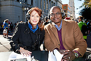 Anchors Margaret Orr and Norman Robinson during WDSU-TV coverage of the third annual<br /> Jazz Half Marathon and 5K run benefiting the cancer program at Children's Hospital