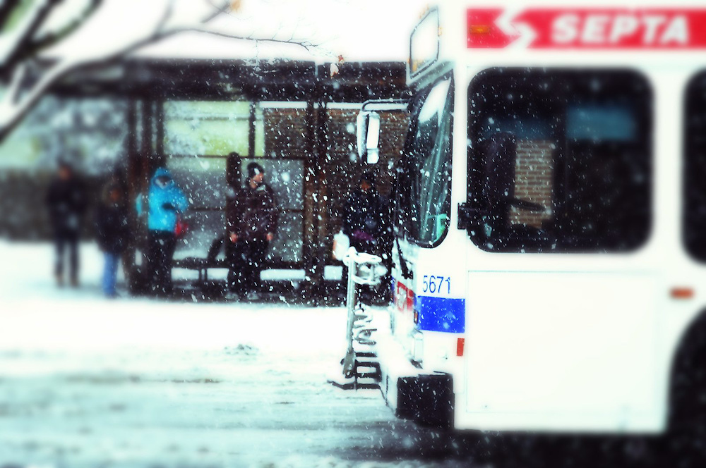 People waiting at the Chestnut Hill bus terminal in Northwest Philadelphia at a January snowstorm<br /> <br /> Creatively processed, edited, toned & apped file as variation to original image