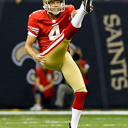 August 12, 2011; New Orleans, LA, USA; San Francisco 49ers punter Andy Lee (4) during the second half of a preseason game against the New Orleans Saints at the Louisiana Superdome. The New Orleans Saints defeated the San Francisco 49ers Mandatory Credit: Derick E. Hingle