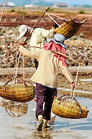 Salt on the March: Salt workers working in stifling heat, walking shoe-less carrying the final product in bamboo baskets,  Kampot Cambodia.