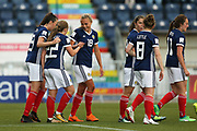 Claire Emslie (#18) of Scotland congratulates Erin Cuthbert (#22) of Scotland on scoring Scotland's first goal (1-1) during the FIFA Women's World Cup UEFA Qualifier match between Scotland Women and Belarus Women at Falkirk Stadium, Falkirk, Scotland on 7 June 2018. Picture by Craig Doyle.