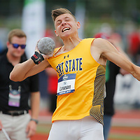Kent State's TJ Lawson throws the shot put during the men's decathlon on the first day of the NCAA college track and field championships in Eugene, Ore. on Wednesday, June 7, 2016 (AP Photo/Timothy J. Gonzalez)